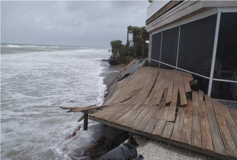 he residential structure at 7110 Manasota Key Road was threatened by beach/dune erosion. Wooden deck collapsed and dune-walkover was washed out. The immediate neighbor at 7160 Manasota Key suffered similar damages.