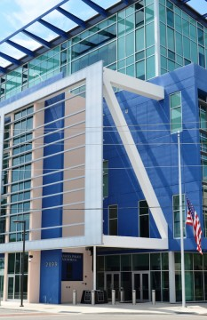 The Sarasota Police Department headquarters faces Payne Park. File photo