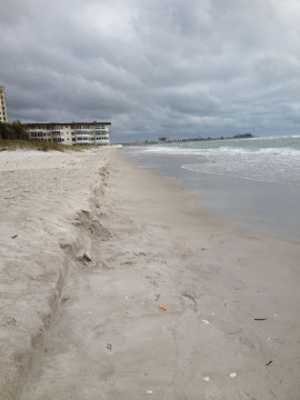 Erosion is clearly visible on South Lido Key in May. Photo courtesy Sarasota County