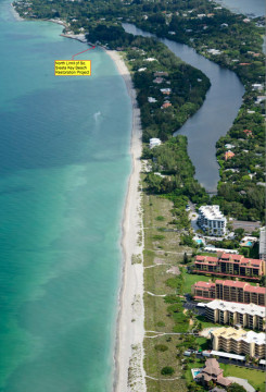 An aerial photo taken in July shows the northernmost limit of the south Siesta renourishment project area. Image courtesy Sarasota County