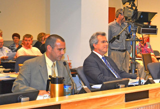 Acting Natural Resources Director Matt Osterhoudt, and Coastal Resources Manager Laird Wreford meet with the County Commission on June 30. Photo by Norman Schimmel