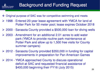 A slide presented to the County Commission provides historical details about the Sarasota Family YMCA's Selby Aquatic Center in Potter Park. Image courtesy Sarasota County