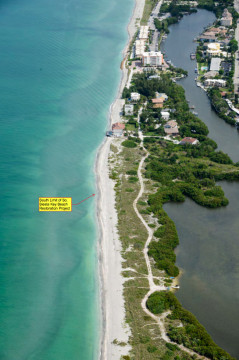 An aerial photo taken in July shows the Gulf of Mexico lapping at a homeowner's pool on one stretch of the south Siesta renourishment project area. Image courtesy Sarasota County