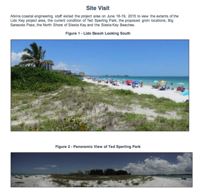 Photos taken on Lido Key in June 2015 by Atkins staff show the eroded shoreline. Images courtesy Sarasota County