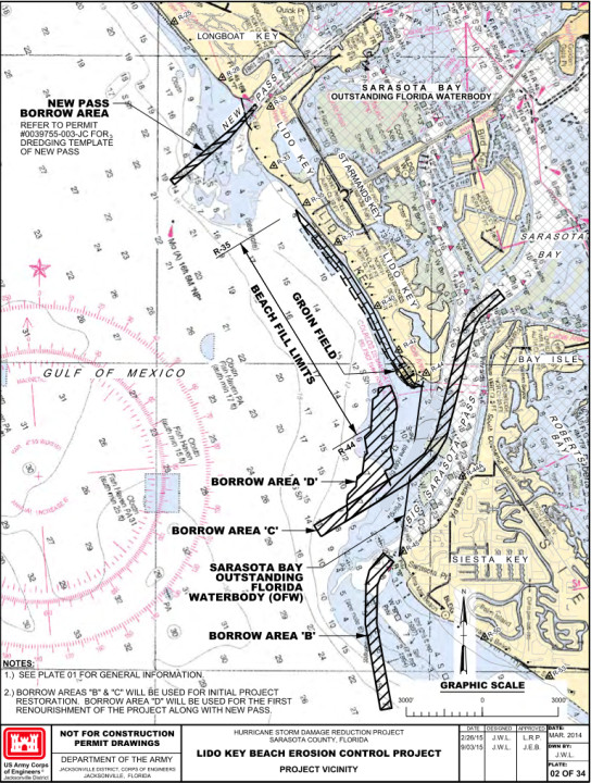 A graphic shows the borrow areas in Big Pass and the proposed groin field. Image courtesy Florida Department of Environmental Protection