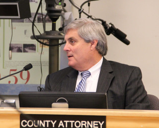 Sarasota County Attorney Stephen DeMarsh addresses the board during a workshop in 2013. Photo from the News Leader archive