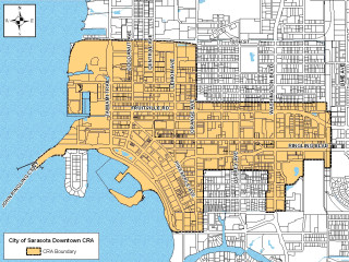 A graphic shows the Downtown Sarasota Community Redevelopment Area. Image courtesy City of Sarasota