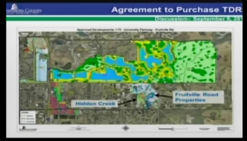 A Sarasota County graphic shows the locations of two planned developments off Fruitville Road east of Interstate 75, Hidden Creek and Fruitville Road Properties. Image courtesy Sarasota County