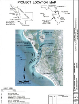 A U.S. Army Corps of Engineers graphic shows the location map for the dredging of Big Pass and placement of two groins on Lido Key. Image courtesy Florida Department of Environmental Protection