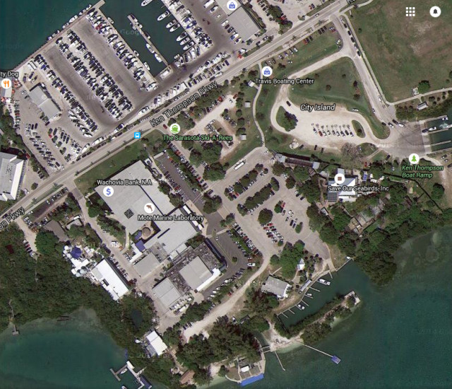 Mote Marine is on Ken Thompson Parkway. Image from Google Maps