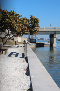 Cracks in the sea wall in Bay Island Park were visible before repair work was concluded this year. Photo from the News Leader archive