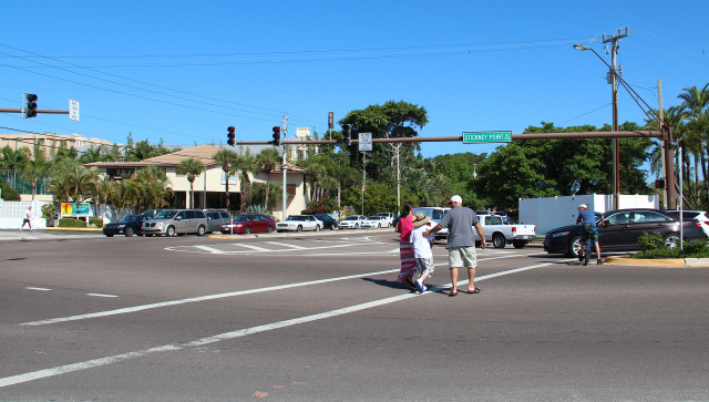 The Florida Department of Transportation is looking at replacing striping at the Stickney Point Road/Midnight Road intersection with raised concrete to provide more separation of vehicles from pedestrians and cyclists. Photo by Rachel Hackney