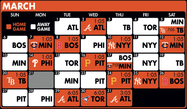 The 2016 Spring Training schedule for the Baltimore Orioles; white squares are away games. Photo courtesy of the Baltimore Orioles.