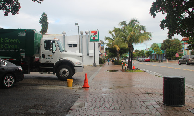 A traffic cone marks the spot where a light pole was removed in front of the 7-Eleven. Bollards stand in front of two palms (right). Rachel Hackney photo