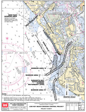 This graphic shows the borrow areas proposed for the project. Image courtesy FDEP