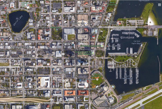 Homeless people used to be a more common site in downtown St. Petersburg, Pinellas County leaders say. Image from Google Maps