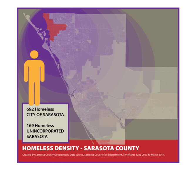 A 2014 graphic shows the density of the homeless population in the county. Image courtesy Sarasota County