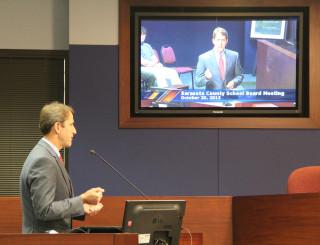 Morgan Bentley addresses the School Board on Oct. 20. Rachel Hackney photo