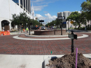 The new roundabout at Orange Avenue and Main Street in Sarasota is open. City of Sarasota photo