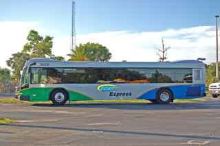 A Sarasota County Area Transit bus travels a city of Sarasota route. Photo courtesy Sarasota County