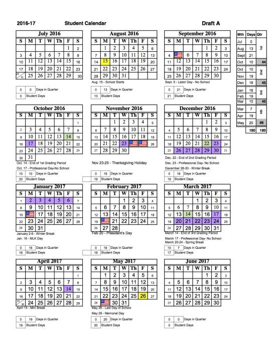 The 2016 17 School Calendar Image Courtesy Sarasota County Schools