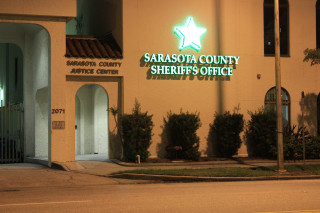 A new sign is lit up outside the Sarasota County Sheriff's Office on Ringling Boulevard in Sarasota. Image courtesy Sheriff's Office