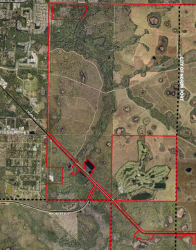 An aerial view shows the area of the proposed Winchester Florida Ranch. Image courtesy Sarasota County