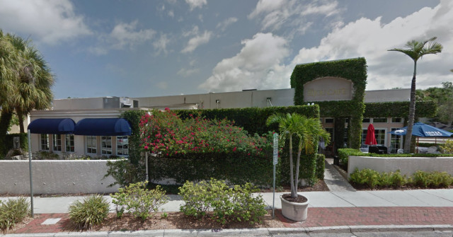 Bijou Cafe is located on First Street at the Pineapple Avenue intersection. Image from Google Maps