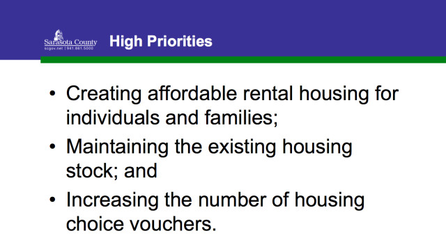 Affordable housing is included in the second list of high priorities for the 2016-21 Consolidated Plan. Image courtesy Sarasota County