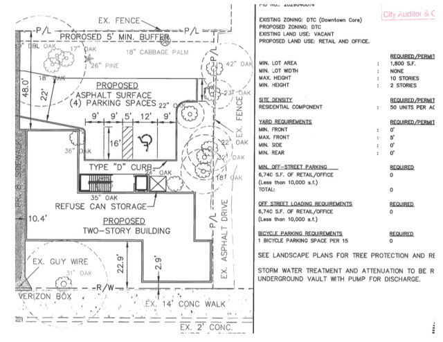 This engineering drawing also was submitted to city staff. Image courtesy City of Sarasota