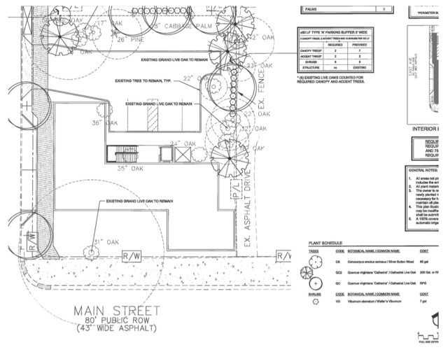 The site plan for the East Main Street project was presented to city staff on Nov. 18. Image courtesy City of Sarasota