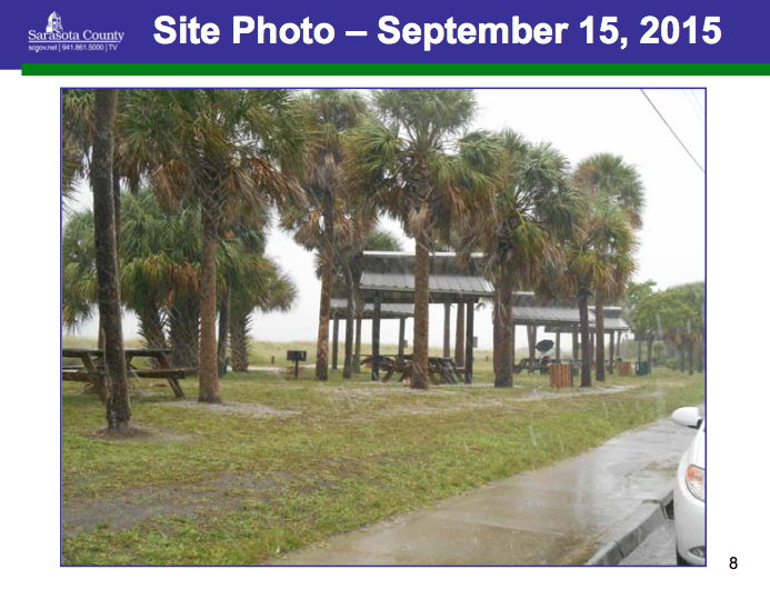Existing wooden picnic shelters will be replaced on the western end of
