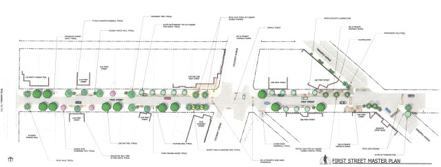 A rendering shows the First Street Master Plan. Image courtesy City of Sarasota