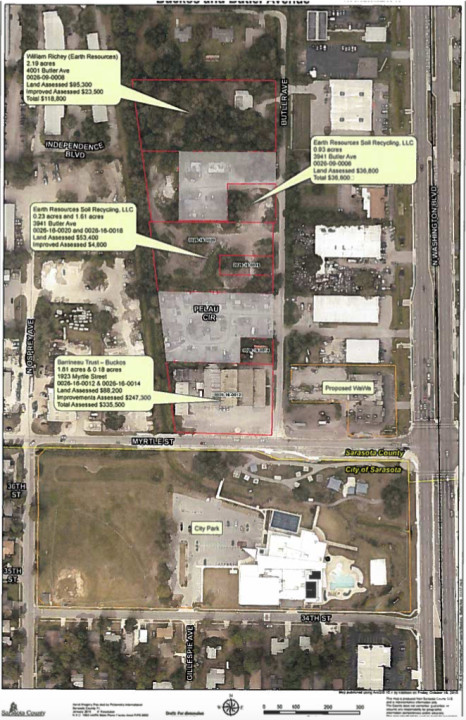 A graphic shows the three sites. Image courtesy Sarasota County