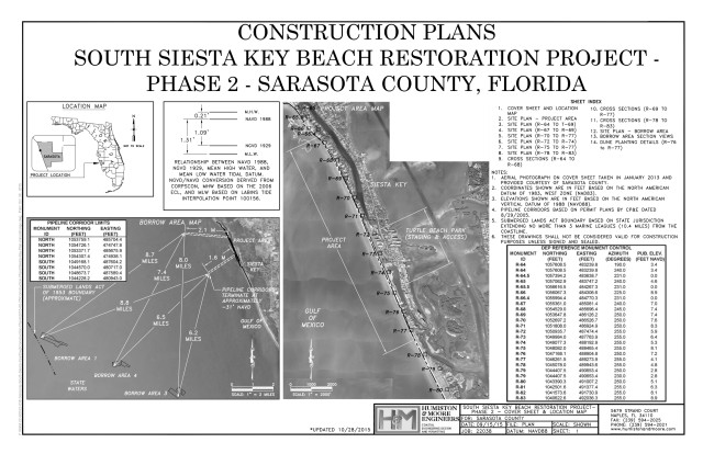 A diagram shows the area for the South Siesta renourishment project. Image courtesy Sarasota County