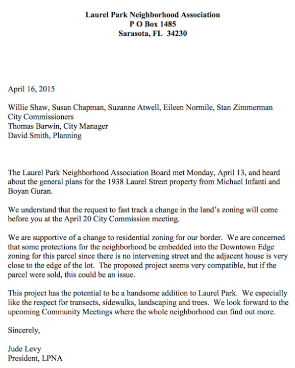 The Laurel Park Neighborhood Association sent this letter to the city in April. Image courtesy City of Sarasota