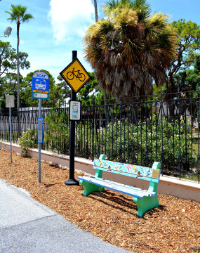 A painted SCAT bench sits on the Ringling College of Art + Design campus. File photo