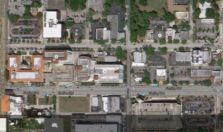 The project site is on the northeast corner of Main Street and East Avenue. Image from Google Maps