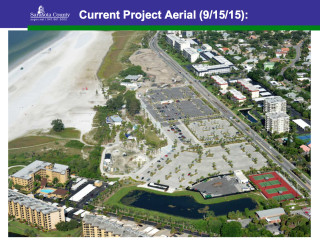 A Sept. 15 aerial view shows the stage of improvements at Siesta Key Beach. Image courtesy Sarasota County