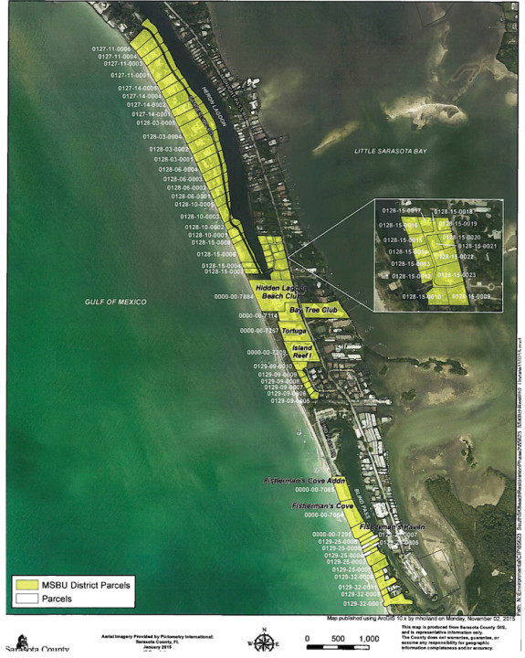 A graphic shows the properties that will be assessed to help pay for the South Siesta Key Beach renourishment project. Image courtesy Sarasota County