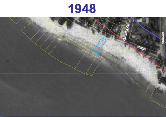 A county aerial map shows the 162 Beach Road parcel (outlined in blue) in 1948. Image courtesy Sarasota County
