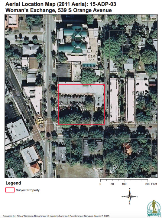 An aerial map shows the Woman's Exchange property. Image courtesy City of Sarasota