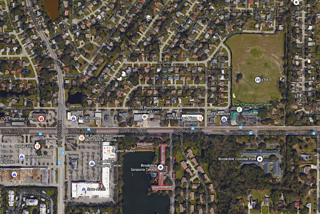 An aerial map shows a portion of Bee Ridge Road with the Dunn Drive intersection at far right. Image from Google Maps