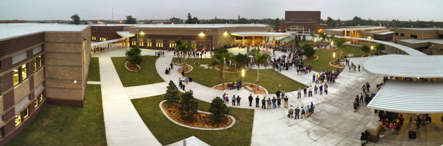Community members celebrate the completion of the rebuild of Booker High School in 2014. Image courtesy Sarasota County Schools