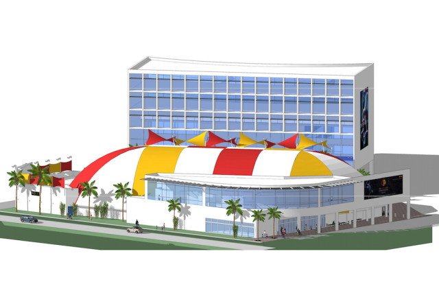 A rendering shows plans for new structures behind the Big Top on Bahia Vista Street. Image courtesy Circus Arts Conservatory