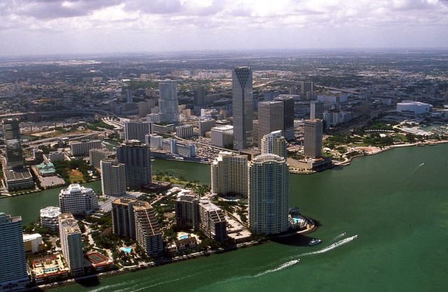 An aerial view shows downtown Miami in 2002. Photo by Towpilot via Wikimedia