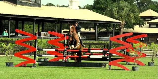 Horse and rider tackle a fence in a Fox Lea Farm competition. Photo courtesy Visit Sarasota County