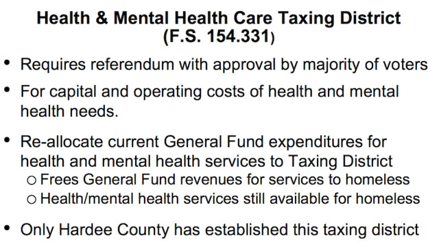 A chart provides details about a health and mental health taxing district. Image courtesy Sarasota County
