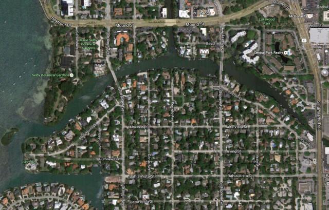 An aerial view shows neighborhoods along Hudson Bayou in Sarasota. Photo from Google Maps