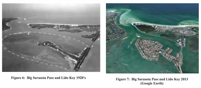 Photos show Lido Key in the 1920s and this decade. Image courtesy U.S. Army Corps of Engineers